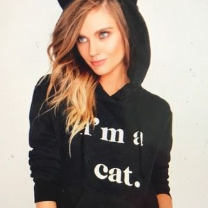 """NWT """"I AM A CAT"""" Hoodie with ears"""